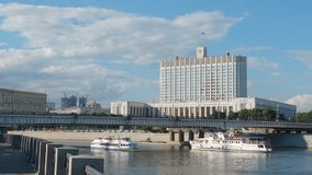 Government of Russian Federation White House building and a river. MOSCOW, RUSSIA - AUGUST 5, 2017: Government of Russian Federation White House building and a Stock Photos
