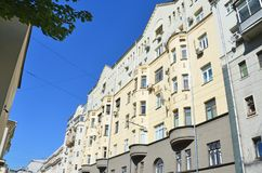 """Moscow, Russia, August, 12, 2018. House â""""– 11-13 - apartment house of S. E. Shug. Moscow, Russia. Yakovoapostolsky lane in August in Moscow. House royalty free stock photography"""