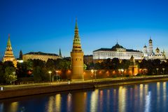 Moscow, Russia - August 5. Moscow Kremlin, Kremlin Embankment stock image