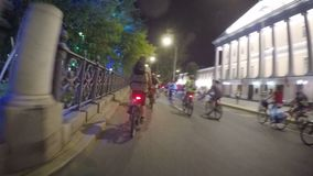Moscow, Russia - August 5, 2018: Many cyclists ride in the night parade through the city at night. Moscow, Russia - August 5, 2018 : Many cyclists ride in the stock video