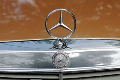 Mercedes Benz logo close up on a car Royalty Free Stock Images