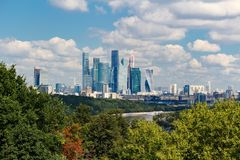 MOSCOW, RUSSIA - AUGUST 12, 2017: Moscow international business center Moscow-city. General view with Sparrow Hills Royalty Free Stock Image
