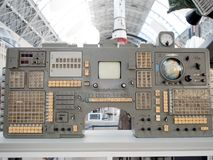MOSCOW, RUSSIA - AUGUST 11, 2018: Old navigation bar, control panel. VDNH. Exhibition in pavilion space, space and aerospace engineering royalty free stock photos