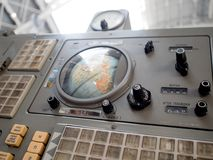 MOSCOW, RUSSIA - AUGUST 11, 2018: Old navigation bar, control panel. VDNH. Exhibition in pavilion space, space and aerospace engineering royalty free stock photography