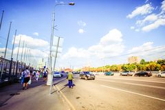 Moscow, Russia, 8 august 2014, Roads in sunny day Royalty Free Stock Photo