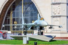 Moscow, Russia - August 01, 2018: Russian fighter SU-27 on a background of pavilion Space on Exhibition of Achievements of Nationa. L Economy VDNH in Moscow stock photos