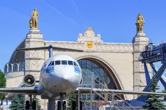 Moscow, Russia - August 01, 2018: Soviet passenger airliner Yak-42 on a background of pavilion Space on Exhibition of Achievements. Of National Economy VDNH in stock image