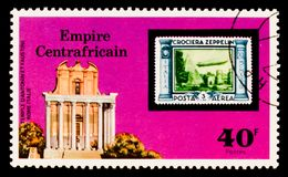 Temple of Antoninus and Faustina in Rome, `Graf Zepplin` Flights serie, circa 1977. MOSCOW, RUSSIA - AUGUST 29, 2017: A stamp printed in Central African Republic Royalty Free Stock Images
