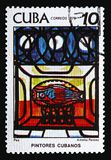 A.Pelaez, `Fish`, Paintings of Amelia Pelaez serie, circa 1978. MOSCOW, RUSSIA - AUGUST 18, 2018: A stamp printed in Cuba shows A.Pelaez, `Fish`, Paintings of stock photography