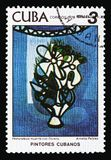 A.Pelaez, `Still life with flowers`, Paintings of Amelia Pelaez serie, circa 1978. MOSCOW, RUSSIA - AUGUST 18, 2018: A stamp printed in Cuba shows A.Pelaez, ` stock photo