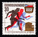 Runners, Parthenon, Czechoslovak Olympic Commitee,75th Anniversary and Olympic Games 1972 serie, circa 1971 royalty free stock photos