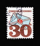 Stylized letter, Postal emblems serie, circa 1974 royalty free illustration