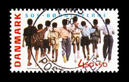 Boys, SOS Children's Villages serie, circa 2005. MOSCOW, RUSSIA - AUGUST 18, 2018: A stamp printed in Denmark shows Boys, SOS Children's Villages serie, circa stock image