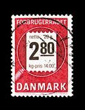 Consumers consultation, serie, circa 1987. MOSCOW, RUSSIA - AUGUST 18, 2018: A stamp printed in Denmark shows Consumers consultation, serie, circa 1987 royalty free stock images