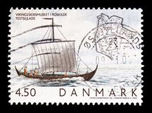 Viking boats, serie, circa 2004. MOSCOW, RUSSIA - AUGUST 18, 2018: A stamp printed in Denmark shows Viking boats, serie, circa 2004 royalty free stock photos