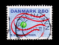 World Gymnastics Show, Gymnaestrada serie, circa 1987. MOSCOW, RUSSIA - AUGUST 18, 2018: A stamp printed in Denmark shows World Gymnastics Show, Gymnaestrada royalty free stock image