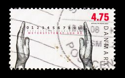 100 years metric system, hands and scale, Metric system serie, circa 2007. MOSCOW, RUSSIA - AUGUST 18, 2018: A stamp printed in Denmark shows 100 years metric stock images