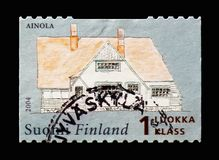 Ainola, Jean Sibelius serie, circa 2004. MOSCOW, RUSSIA - AUGUST 18, 2018: A stamp printed in Finland shows Ainola, Jean Sibelius serie, circa 2004 royalty free stock image