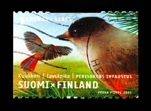Blue Tit Parus caeruleus, Regional birds serie, circa 2001. MOSCOW, RUSSIA - AUGUST 18, 2018: A stamp printed in Finland shows Blue Tit Parus caeruleus, Regional royalty free stock image