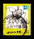 Moomin Cartoons, serie, circa 2009. MOSCOW, RUSSIA - AUGUST 18, 2018: A stamp printed in Finland shows Moomin Cartoons, serie, circa 2009 royalty free stock photography