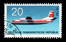 Antonow AN-24, Aviation serie, circa 1969. MOSCOW, RUSSIA - AUGUST 18, 2018: A stamp printed in Germany Democratic Republic shows Antonow AN-24, Aviation serie royalty free stock photos