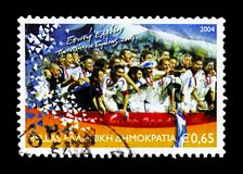 Greece, European Football champion, Football (Soccer) serie, circa 2004. MOSCOW, RUSSIA - AUGUST 18, 2018: A stamp printed in Greece shows Greece, European royalty free stock photography