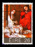 `La Natividad` by R. van der Weyden, Christmas serie, circa 1983. MOSCOW, RUSSIA - AUGUST 18, 2018: A stamp printed in Ireland shows `La Natividad` by R. van der royalty free stock image