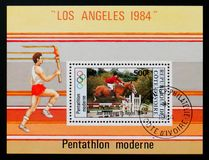 Equestrian, 1984 Summer Olympics serie, circa 1984. MOSCOW, RUSSIA - AUGUST 29, 2017: A stamp printed in Ivory Coast shows Equestrian, 1984 Summer Olympics serie Royalty Free Stock Images