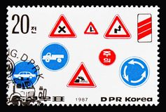 Various roadsigns, Road safety serie, circa 1987. MOSCOW, RUSSIA - AUGUST 18, 2018: A stamp printed in Korea shows Various roadsigns, Road safety serie, circa stock photo