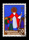 Christmas, serie, circa 1981. MOSCOW, RUSSIA - AUGUST 18, 2018: A stamp printed in Liechtenstein shows Christmas, serie, circa 1981 stock photography