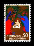 Christmas, serie, circa 1981. MOSCOW, RUSSIA - AUGUST 18, 2018: A stamp printed in Liechtenstein shows Christmas, serie, circa 1981 royalty free stock photos