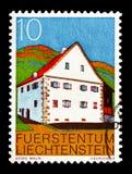 Meierhof Triesen, Buildings serie, circa 1978. MOSCOW, RUSSIA - AUGUST 18, 2018: A stamp printed in Liechtenstein shows Meierhof Triesen, Buildings serie, circa stock photography