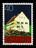 Monastery Bendern, Buildings serie, circa 1978. MOSCOW, RUSSIA - AUGUST 18, 2018: A stamp printed in Liechtenstein shows Monastery Bendern, Buildings serie royalty free stock photography
