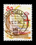 Poem of Th. Friedrich, Christmas serie, circa 1993. MOSCOW, RUSSIA - AUGUST 18, 2018: A stamp printed in Liechtenstein shows Poem of Th. Friedrich, Christmas royalty free stock photography