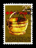 Pot, Alpine Dairy farming implements serie, circa 1980. MOSCOW, RUSSIA - AUGUST 18, 2018: A stamp printed in Liechtenstein shows Pot, Alpine Dairy farming stock photo