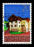 Upper village of Triesen, Buildings serie, circa 1978. MOSCOW, RUSSIA - AUGUST 18, 2018: A stamp printed in Liechtenstein shows Upper village of Triesen royalty free stock photos