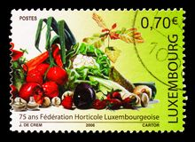 75th Anniversary of the Luxembourg Horticultural Federation, serie, circa 2006. MOSCOW, RUSSIA - AUGUST 18, 2018: A stamp printed in Luxembourg devoted 75th royalty free stock photo