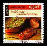 EUROPA - Gastronomy, serie, circa 2005. MOSCOW, RUSSIA - AUGUST 18, 2018: A stamp printed in Luxembourg shows EUROPA - Gastronomy, serie, circa 2005 royalty free stock images