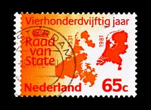 Map of the Netherlands, 1531 and 1981, serie, circa 1981. MOSCOW, RUSSIA - AUGUST 18, 2018: A stamp printed in Netherlands shows Map of the Netherlands, 1531 and stock photo