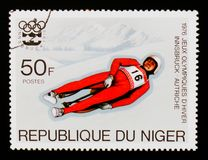 Luge, Olympic Games Innsbruck serie, circa 1976 Royalty Free Stock Images