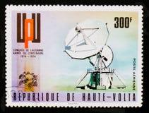 UPU emblem and dish antenna, circa 1974 Stock Photography
