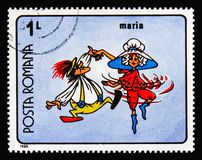 Maria`s Adventure, Romanian Cartoons serie, circa 1989. MOSCOW, RUSSIA - AUGUST 18, 2018: A stamp printed in Romania shows Maria`s Adventure, Romanian Cartoons royalty free stock photos