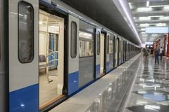 Subway train on the station in Moscow stock photos