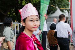 Moscow, Russia, 04 august 2018 Unknown Balinese young guy and girl at the festival of Indonesia royalty free stock photos