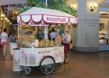 MOSCOW, RUSSIA-11 AUGUSTUS: a trade tray with ice cream and dess. Erts in GUM shop on August 11, 2015. mobile outlet of Bosko of cafe Royalty Free Stock Image