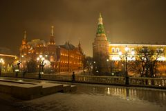 Moscow, Russia. On Background State Historical Museum And Moscow royalty free stock photography