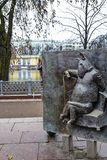 Moscow, Russia, Bas Relief on Krylov`s fable near Patriarch`s ponds. Ivan Krylov 1769 – 1844 is a Russian poet and fabulist. At the Patriarch`s ponds stock image