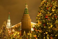 Moscow, Russia. Beautiful Christmas Trees On Background Kremlin stock image