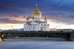Moscow, Russia - Cathedral of Christ the Savior at night Royalty Free Stock Photography