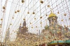 Cathedral of Our Lady of Kazan Kazan Cathedral and Nikolskaya street with Christmas illuminat Royalty Free Stock Photo